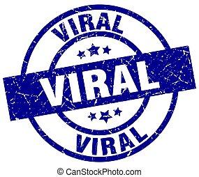 viral blue round grunge stamp