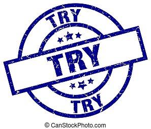 try blue round grunge stamp