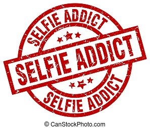 selfie addict round red grunge stamp