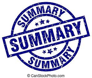 summary blue round grunge stamp