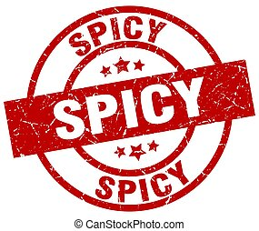 spicy round red grunge stamp