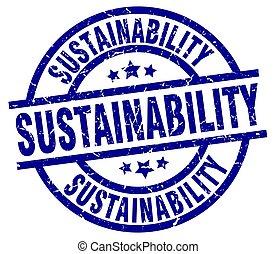 sustainability blue round grunge stamp