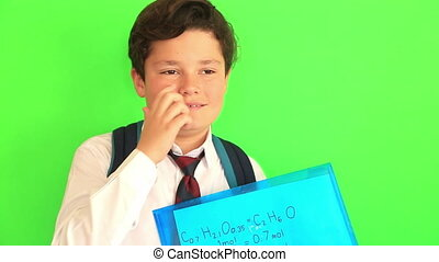 School boy on chroma key green screen background - School...