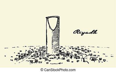 Sketch of Riyadh skyline vector illustration drawn