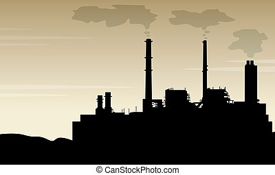 Silhouette of industry with pollution scenery