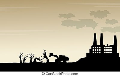 Silhouette of industry bad environment scenery