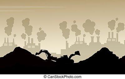 Silhouette of bad environment with trash and poluttion...