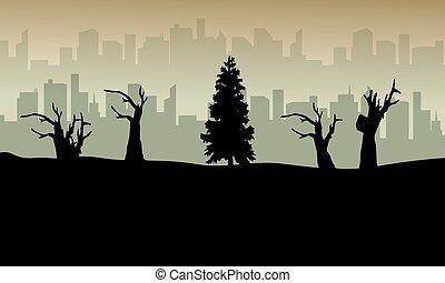 Bad environment landscape background silhouette vector art
