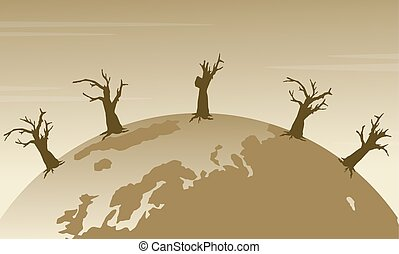Silhouette of world with forest on fire