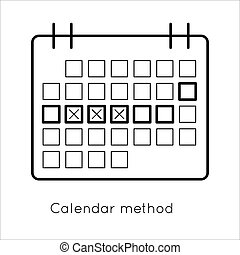 Contraception method - ovulation calendar with marks days....