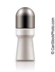 Realistic bottle with roll-on deodorant. - Realistic blank...
