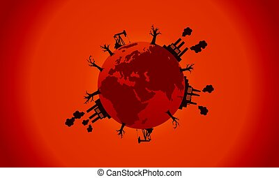 Bad environment world silhouette collection vector...