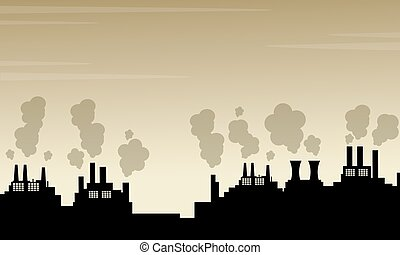Silhouette of pollution industry bad environment vector art