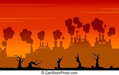 Silhouette of industry and forest on fire landscape...