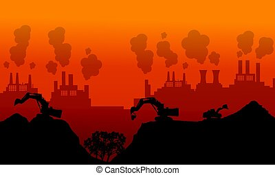 Bad environment silhouette background collection vector...