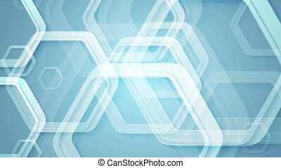 Abstract blue geometric video animation with hexagons -...