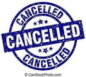 cancelled blue round grunge stamp