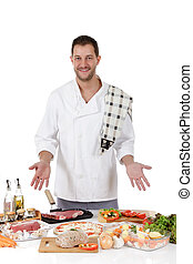 Young attractive chef caucasian male , diversity meals