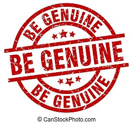 be genuine round red grunge stamp