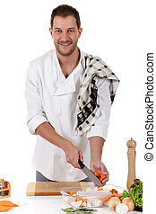 Young attractive chef caucasian male, tenderloin piece