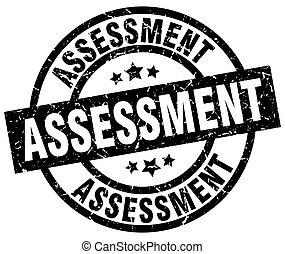 assessment round grunge black stamp