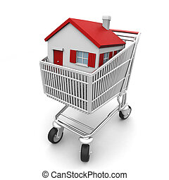 Buy Your House - 3D house in a shopping cart isolated on...
