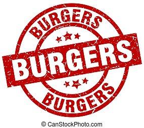 burgers round red grunge stamp