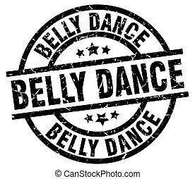 belly dance round grunge black stamp