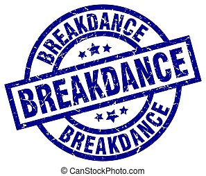 breakdance blue round grunge stamp