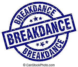 breakdance blue round grunge stamp