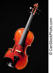 Violin viola fiddle Isolated on Black - A violin viola...