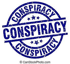 conspiracy blue round grunge stamp
