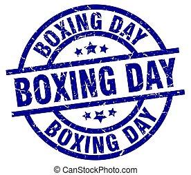 boxing day blue round grunge stamp