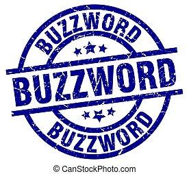 buzzword blue round grunge stamp