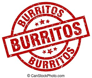 burritos round red grunge stamp