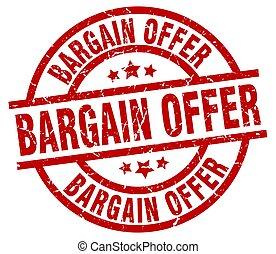 bargain offer round red grunge stamp