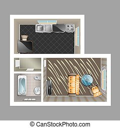 Modern detailed floor plan for apartment with kitchen,...