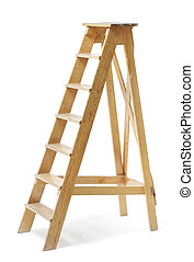 Old Ladder - Old wooden stepladder on white