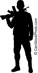 a turkish soldier silhouette vector