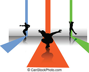 3 dancers illustration - 3 silouettes of break dnacers on...
