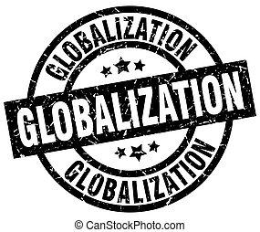 globalization round grunge black stamp