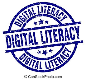 digital literacy blue round grunge stamp