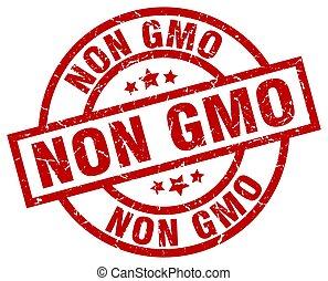 non gmo round red grunge stamp