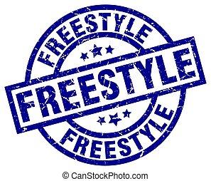 freestyle blue round grunge stamp