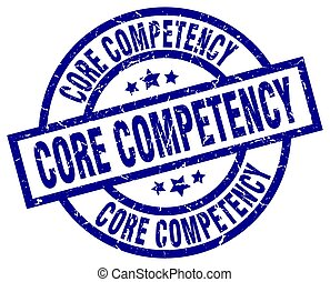 core competency blue round grunge stamp