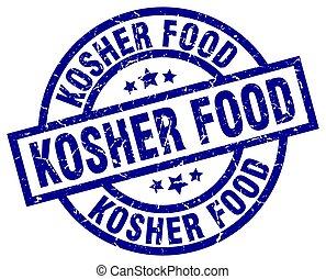 kosher food blue round grunge stamp