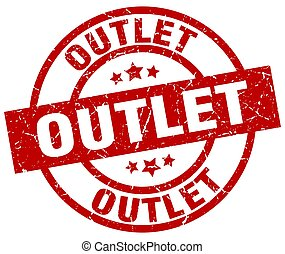 outlet round red grunge stamp