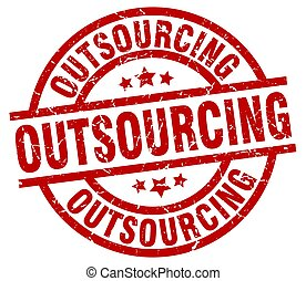 outsourcing round red grunge stamp