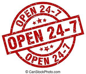 open 24 7 round red grunge stamp