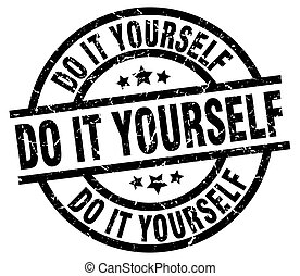 do it yourself round grunge black stamp